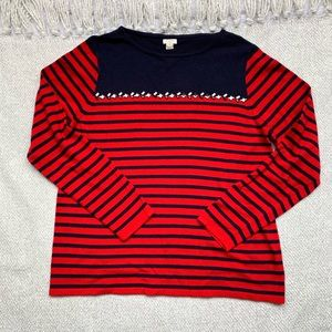 J. Crew Factory Red Striped Beaded Sweater